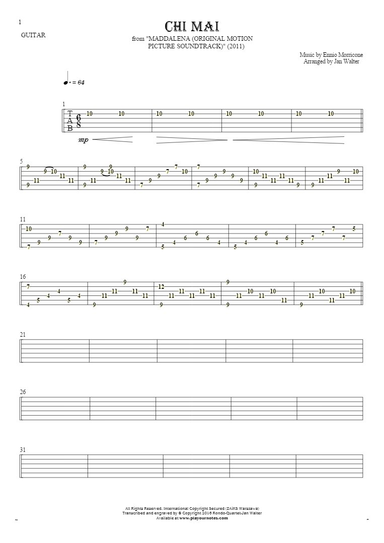 Chi Mai - Tablature for guitar solo (fingerstyle)