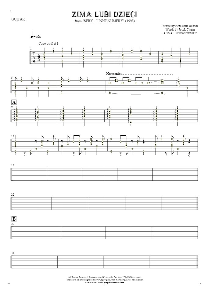 Zima lubi dzieci - Tablature (rhythm. values) for guitar - accompaniment