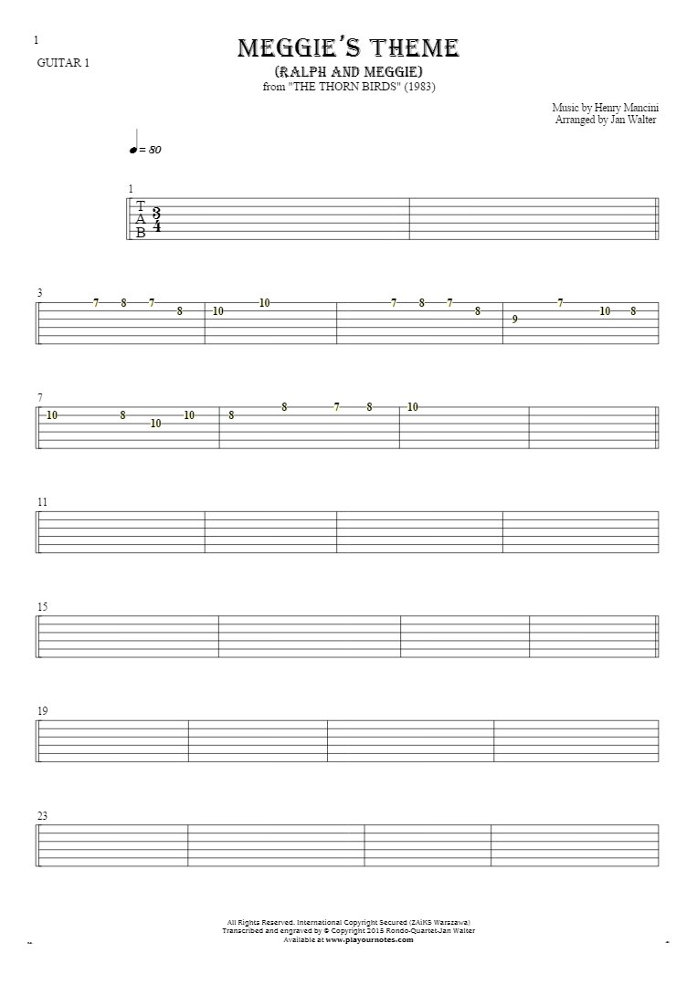 Meggie's Theme (Ralph and Meggie) - Tablature for guitar - guitar 1 part