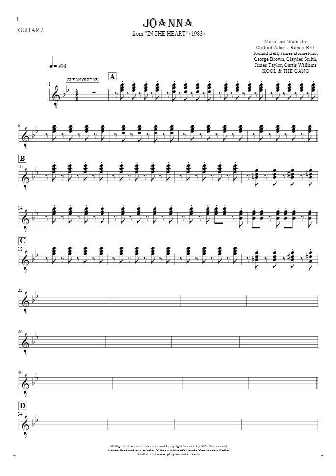 Joanna - Notes for guitar - guitar 2 part