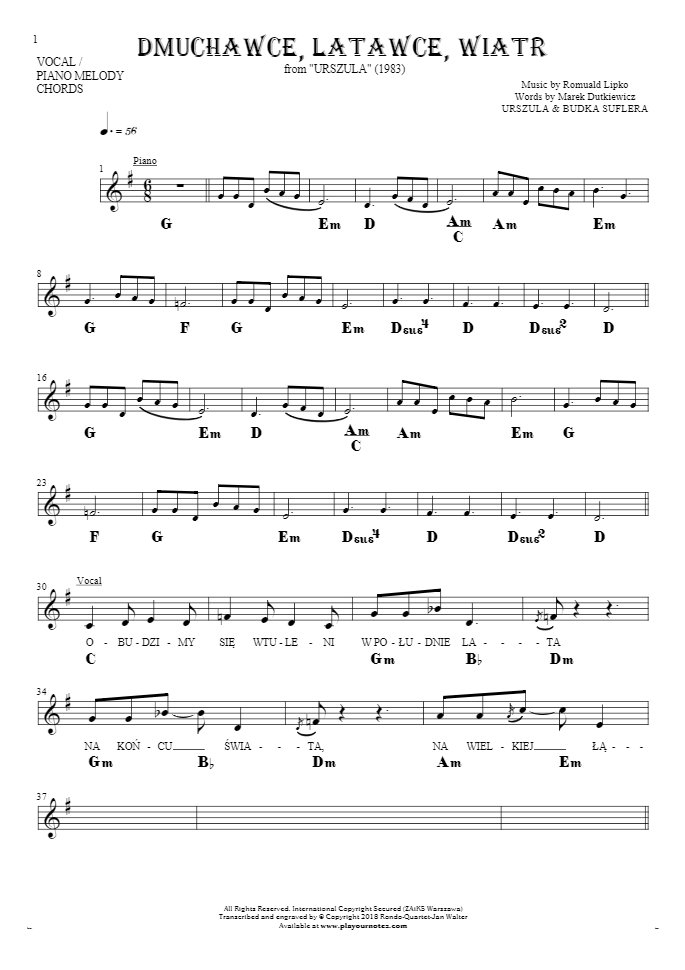 Slowly Walking - Notes, lyrics and chords for vocal with accompaniment