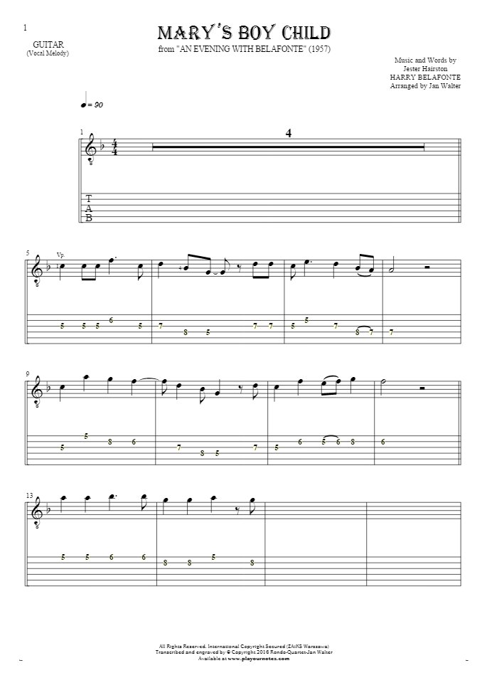 Mary's Boy Child - Notes and tablature for guitar - melody line