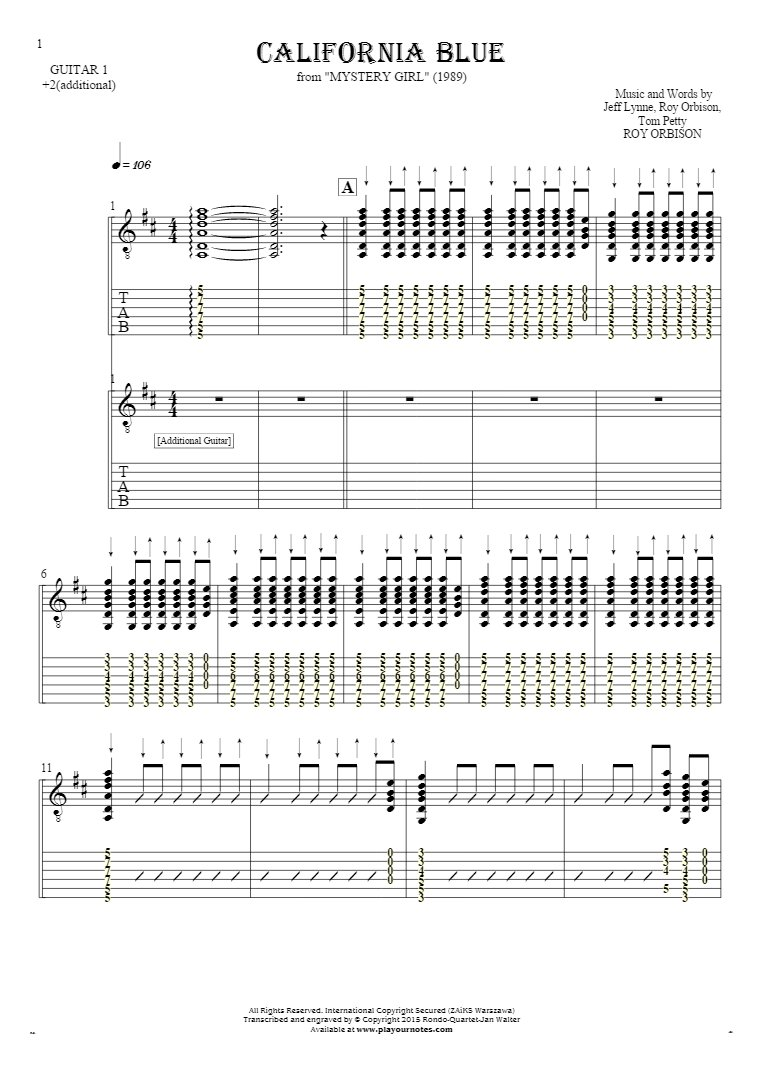 California Blue - Notes and tablature for guitar - guitar 1 and 2 part