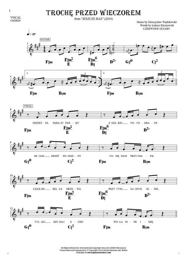 Trochę przed wieczorem - Notes, lyrics and chords for solo voice with accompaniment