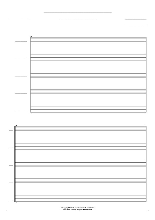 Free Blank Sheet Music - Score for 5 voices
