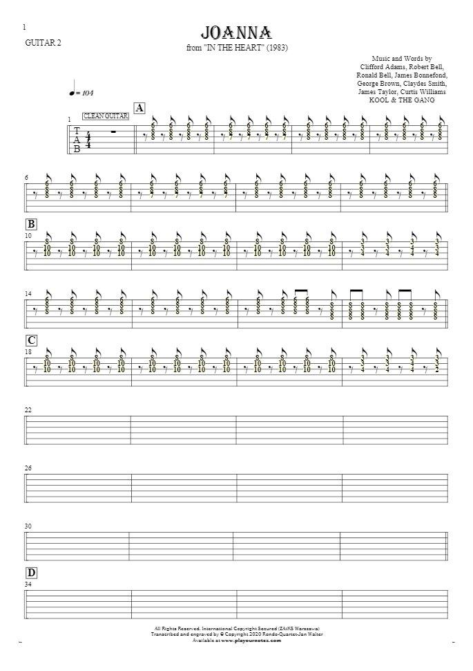 Joanna - Tablature (rhythm. values) for guitar - guitar 2 part