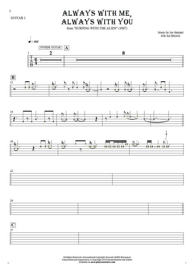 Always With Me, Always With You - Tablature (rhythm values) for guitar - guitar 1 part