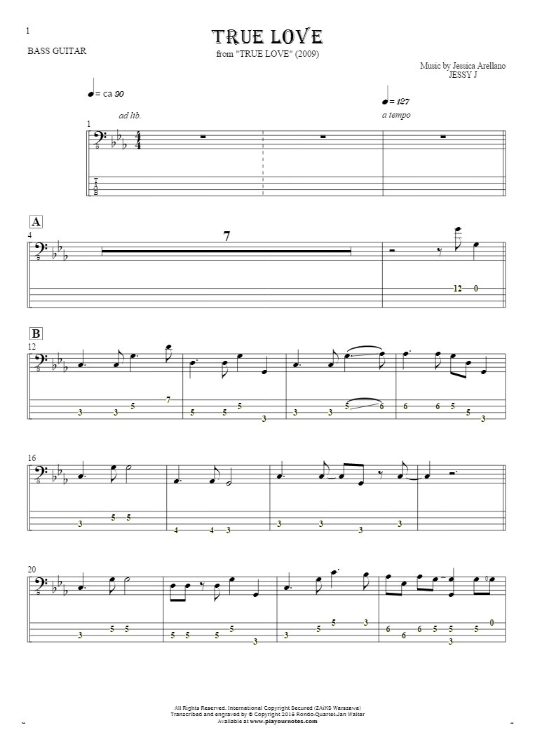 True Love - Notes and tablature for bass guitar