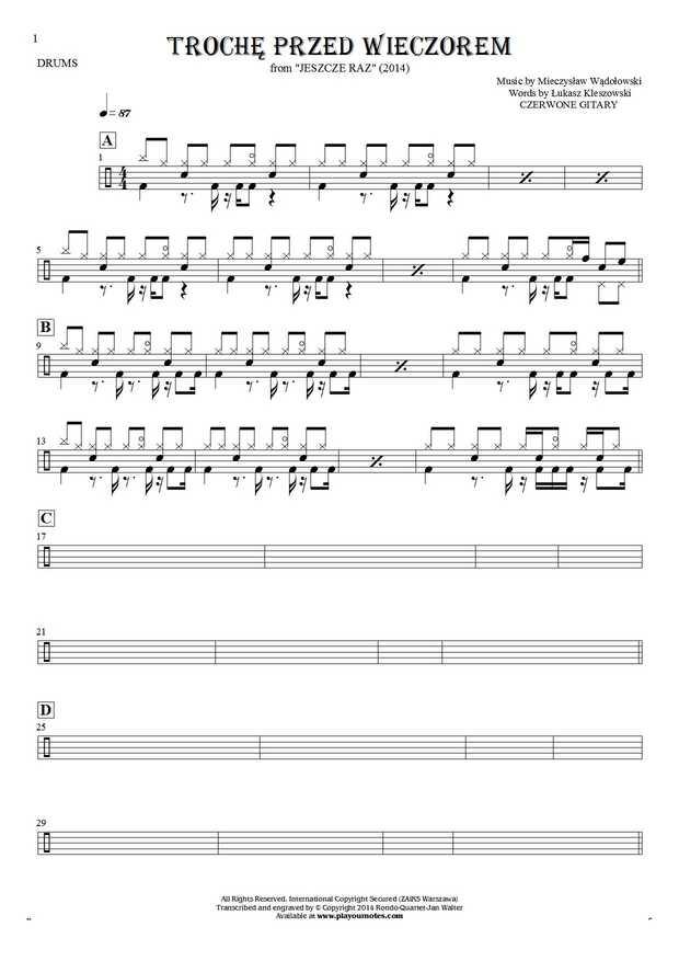 Trochę przed wieczorem - Notes for drum kit