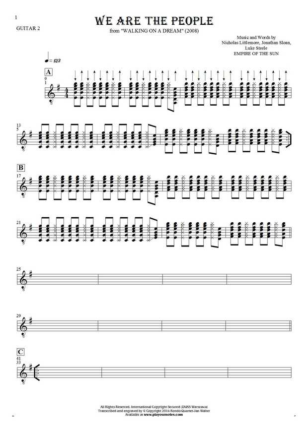We Are the People - Notes for guitar - guitar 2 part