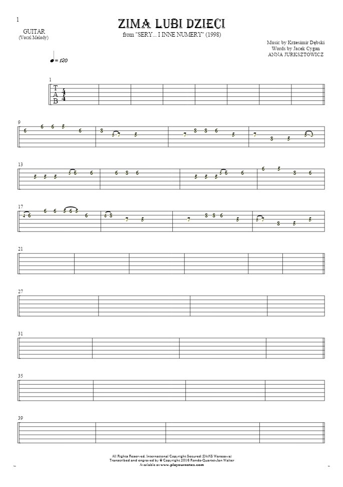Zima lubi dzieci - Tablature for guitar - melody line