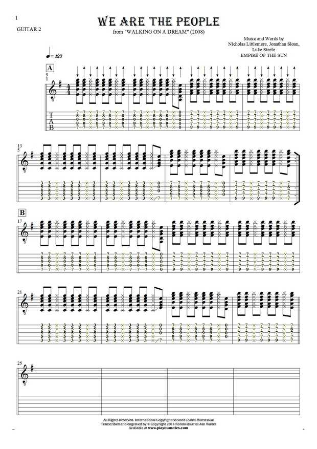 We Are the People - Notes and tablature for guitar - guitar 2 part
