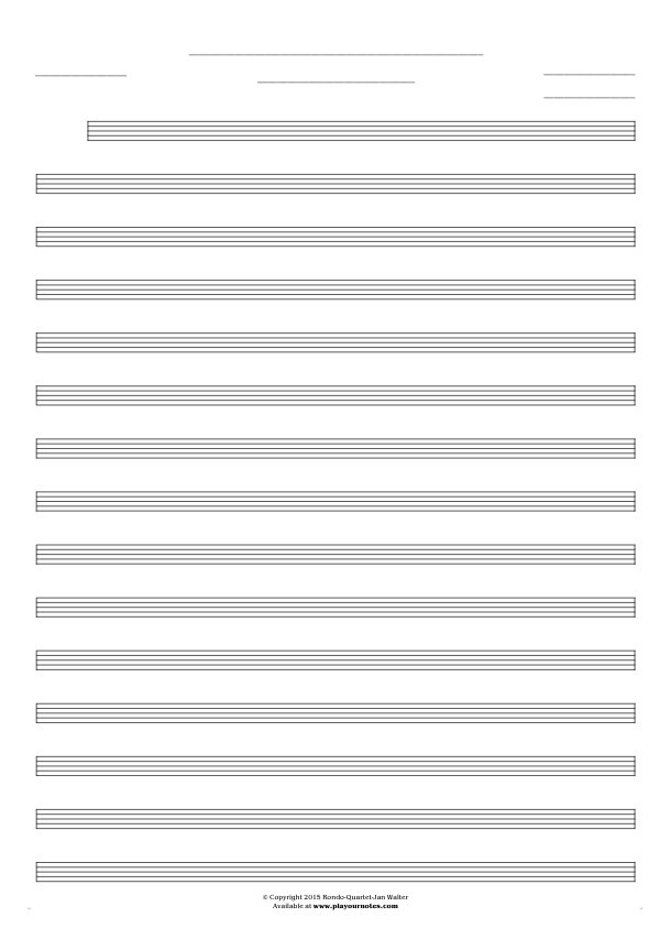 Free Blank Sheet Music - Notes for any instrument - small staves