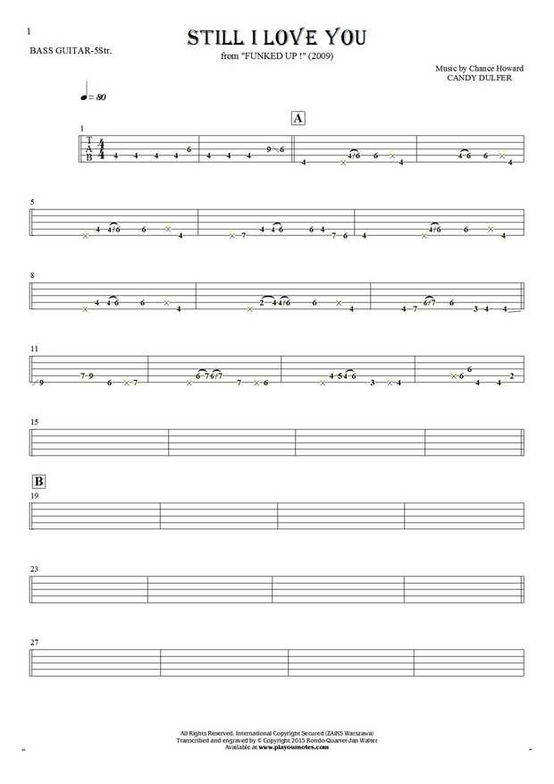 Still I Love You - Tablature for bass guitar (5-str.)