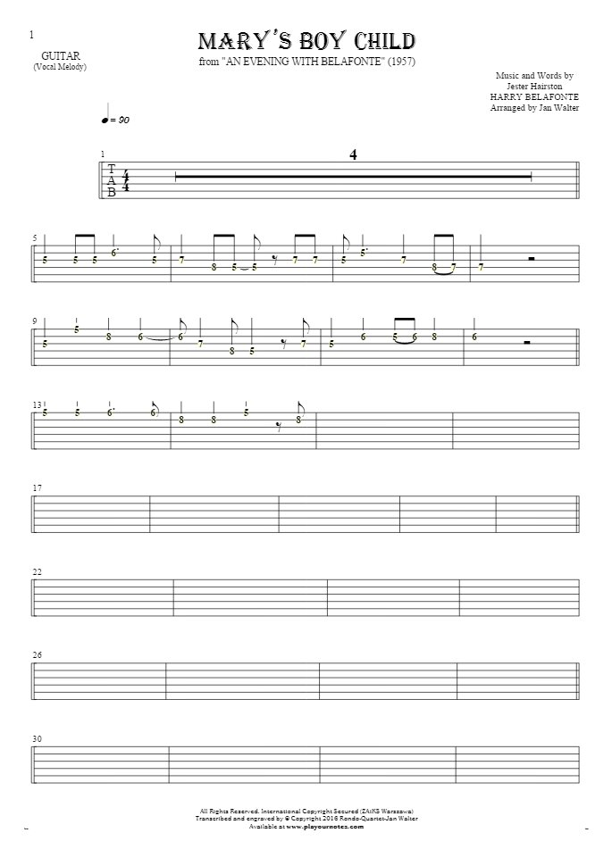 Mary's Boy Child - Tablature (rhythm. values) for guitar - melody line