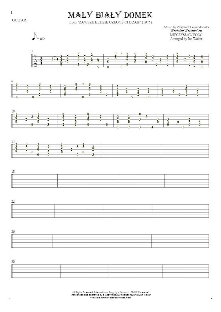 Mały biały domek - Tabulatur für Gitarre solo (fingerstyle)