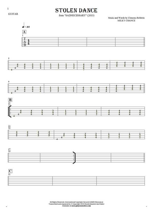 Stolen Dance - Tablature for guitar