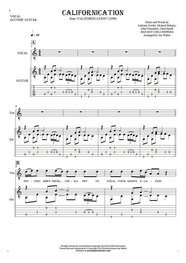Californication Notes Tablature Chords And Lyrics For Solo Voice