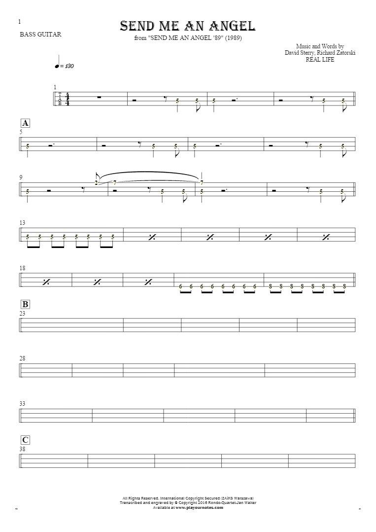 Send Me An Angel - Tablature (rhythm values) for bass guitar