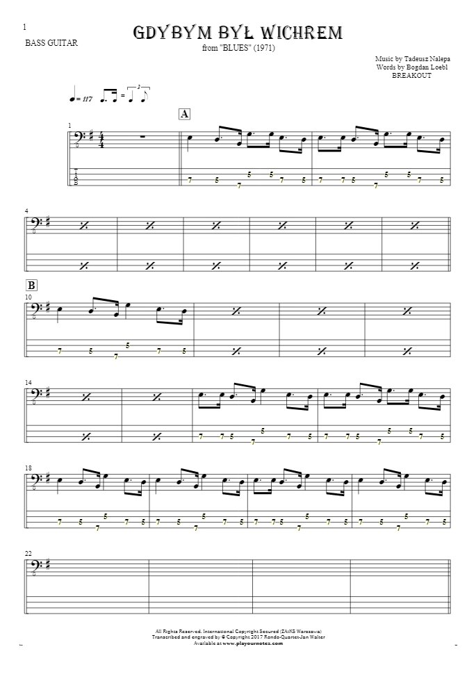 If I Were the Wind - Notes and tablature for bass guitar