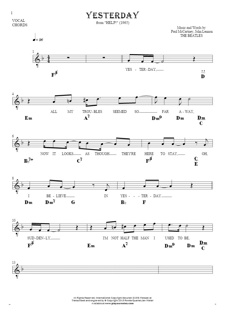 Yesterday - Notes, lyrics and chords for solo voice with accompaniment