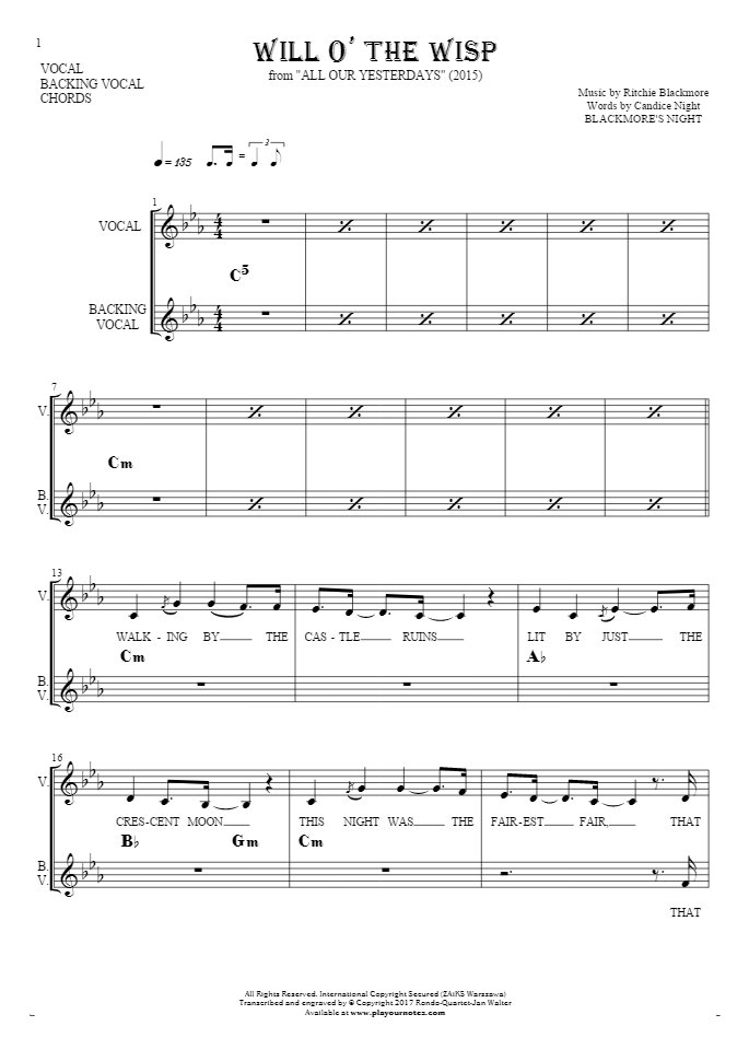 Will O' The Wisp - Notes, lyrics and chords for vocal with accompaniment