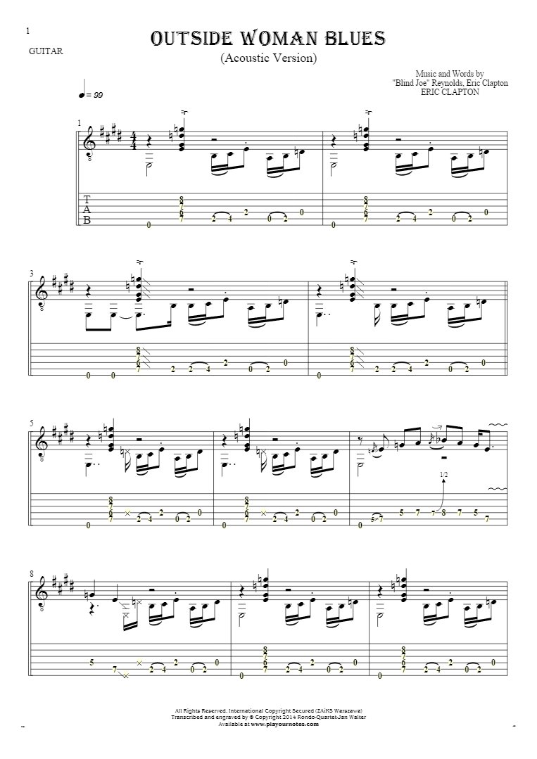 Outside Woman Blues - Notes and tablature for guitar - accompaniment