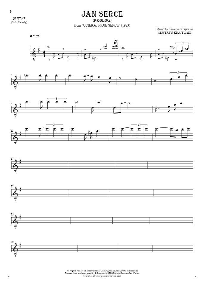 Jan Serce - Prolog - Notes for guitar - melody line