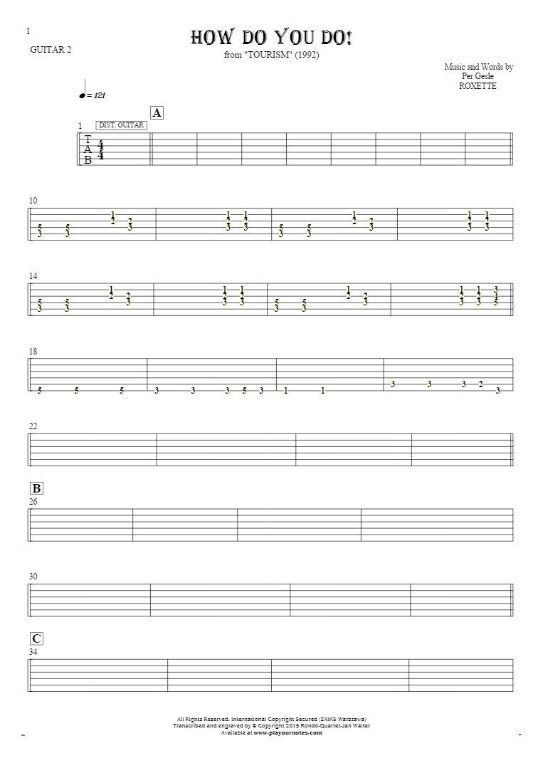 How Do You Do! - Tablature for guitar - guitar 2 part