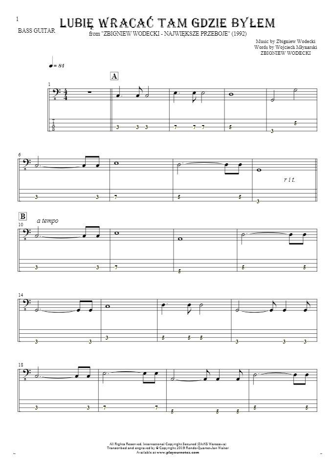 Lubię wracać tam gdzie byłem - Notes and tablature for bass guitar
