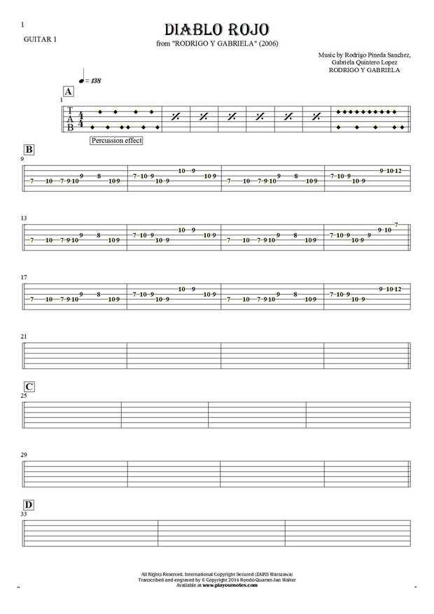 Diablo Rojo - Tablature for guitar - guitar 1 part