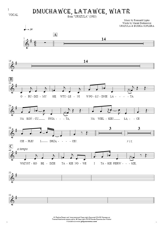 Slowly Walking - Notes and lyrics for vocal - melody line