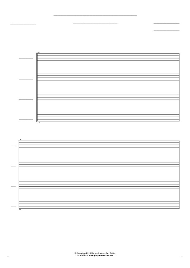 Free Blank Sheet Music - Score for 4 voices