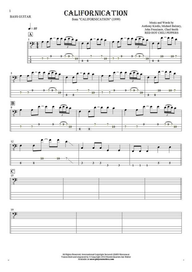 Californication - Notes and tablature for bass guitar | PlayYourNotes