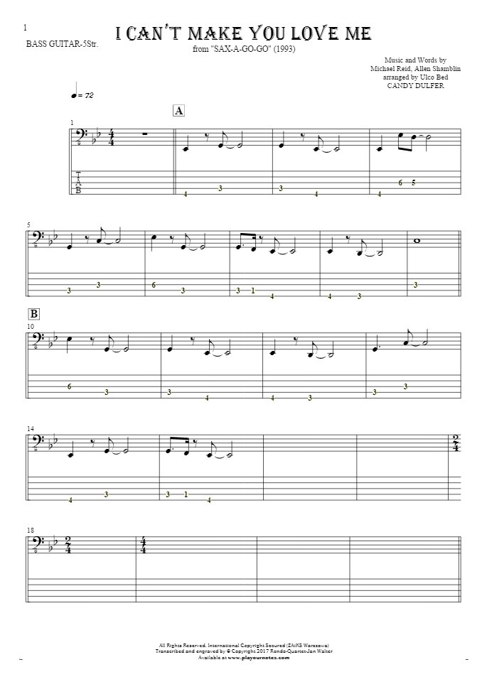I Can't Make You Love Me - Notes and tablature for bass guitar (5-str.)