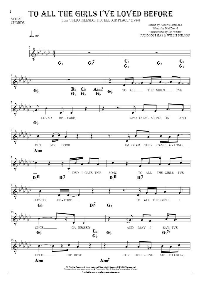 To All The Girls I've Loved Before - Notes, lyrics and chords for vocal with accompaniment