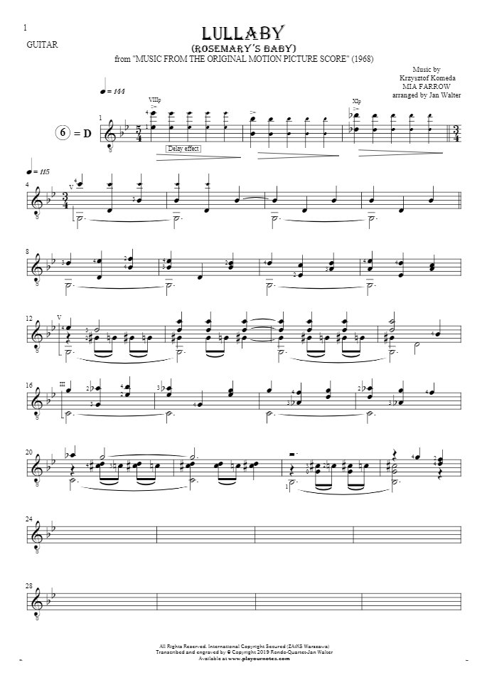 Lullaby - Rosemary's Baby - Nuty na gitarę solo (fingerstyle)