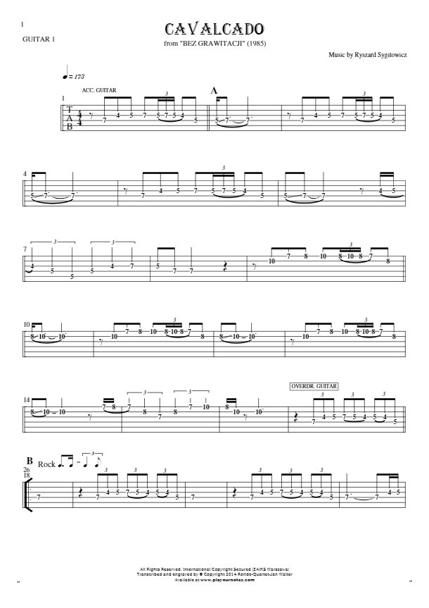 Cavalcado - Tablature (rhythm values) for guitar - guitar 1 part