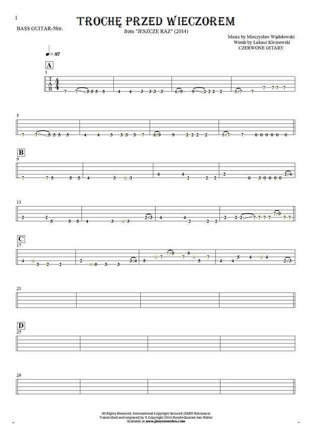 Trochę przed wieczorem - Tablature for bass guitar (5-str.)