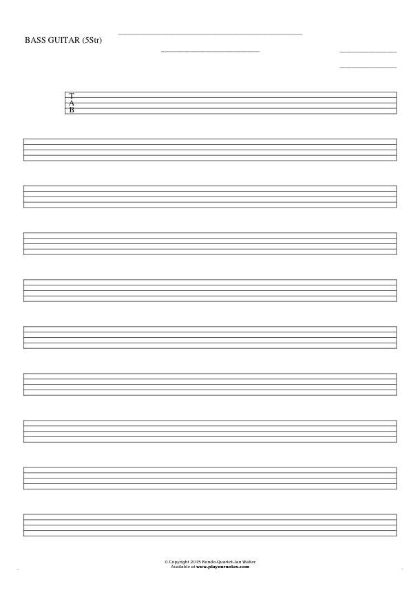Free Blank Sheet Music - Tablature for bass guitar (5-str.)