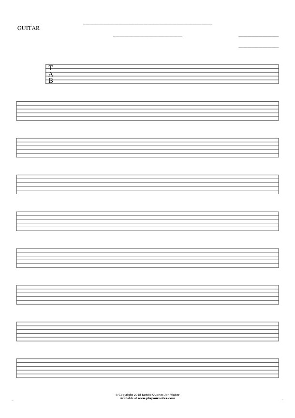 Free Blank Sheet Music - Tablature for guitar