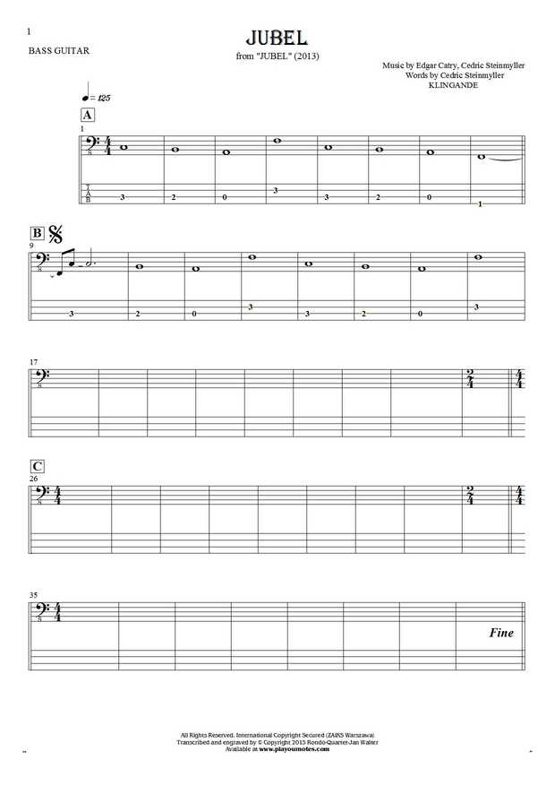 Jubel - Notes and tablature for bass guitar