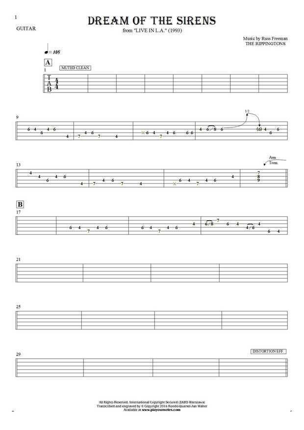 Dream Of The Sirens - Tablature for guitar
