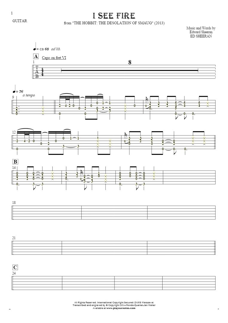 I See Fire - Tablature (rhythm values) for guitar