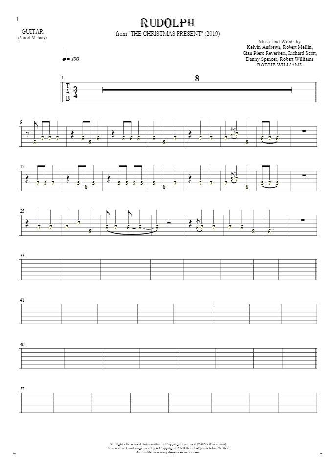 Rudolph - Tablature (rhythm. values) for guitar - melody line