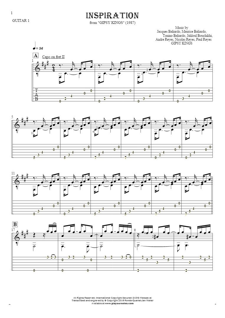 Inspiration - Notes and tablature for guitar - guitar 1 part