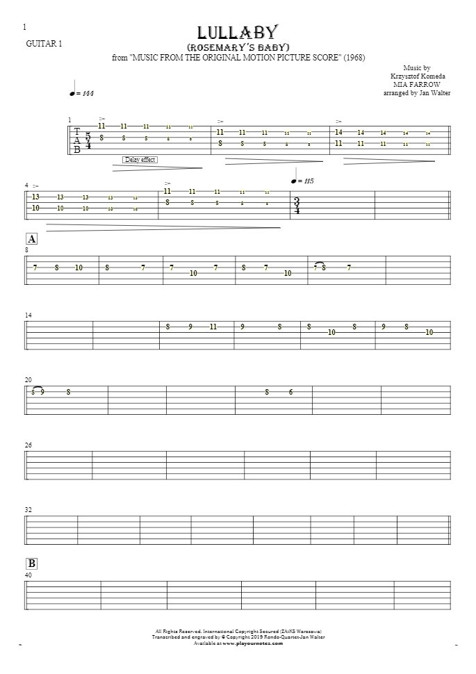 Lullaby - Rosemary's Baby - Tablature for guitar