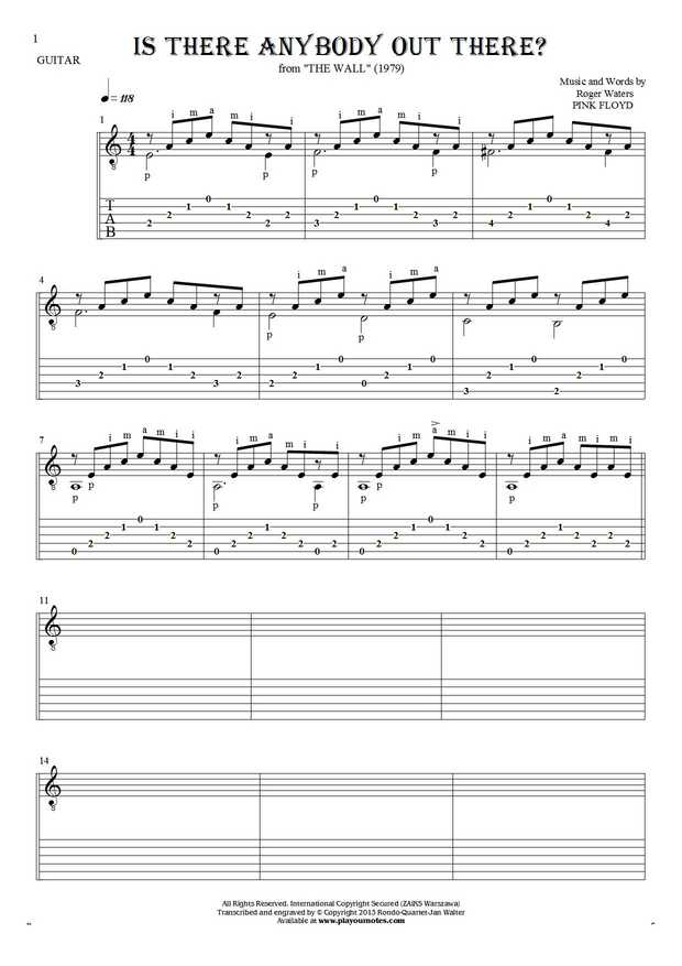 Is There Anybody Out There? - Notes and tablature for guitar solo (fingerstyle) and guitar