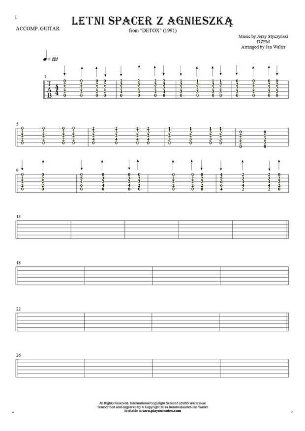 Letni spacer z Agnieszką - Tablature for guitar - accompaniment