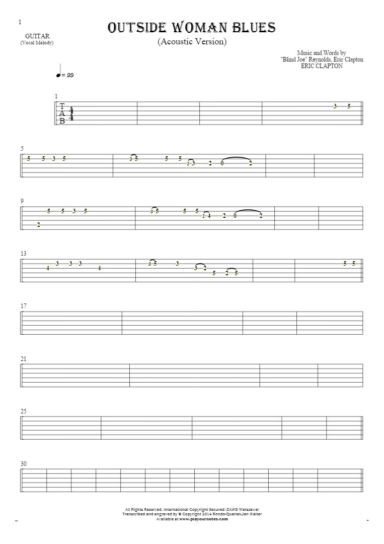 Outside Woman Blues - Tablature for guitar - melody line
